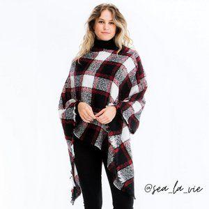 Black Chic Plaid Fringed Blanket Poncho Sweater